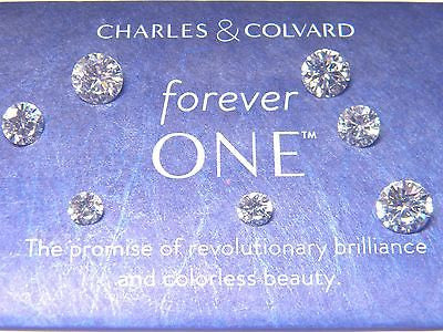 Forever One New Whitest  Moissanite  Round 1/4 ct to 3 ct Jewels Charles Colvard Colorless D E F