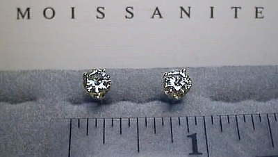 Moissanite Earrings 14K Yellow Screwback 1 carat twt 4 prong Charles and Colvard