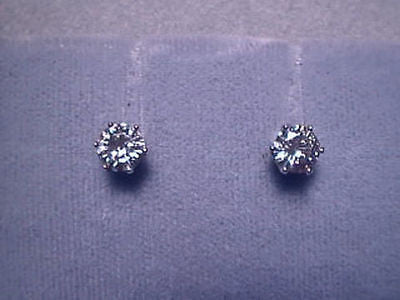 Moissanite Earrings 1 carat twt Screwback 14K Yellow 6 prong Charles and Colvard