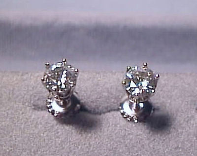 Moissanite Earrings 2 carat Round 6 prong Screwbacks 14K White Charles & Colvard