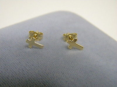 CROSS EARRINGS  14K Yellow Solid Gold Studs  one pair