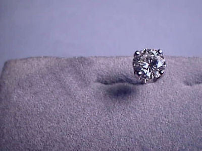 Moissanite Single Stud Earring 1 carat 6.5mm Rnd pushback 4 prong 14K White Gold