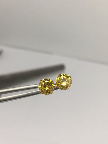 SIGNITY CZs Yellow Topaz  Earring Studs 6mm Rounds 14K Gold Cubic Zirconia