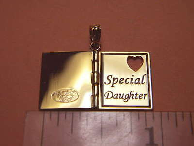"14K Gold - I LOVE YOU ""Special Daughter"" Pendant book hinged 3D Rose gold Heart"
