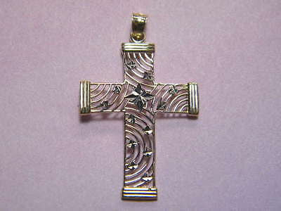 Cross 14K Yellow & White Gold Cut Out Multi Lines 1 1/8th inch tall by 7/8ths