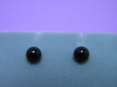 Black Onyx Earrings 6mm Round Balls Sterling Silver Studs & Backs .925%