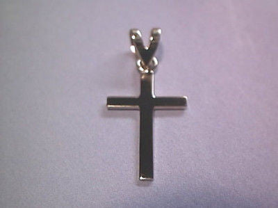 Plain Gold Cross .75 inch double bail 14K Yellow  Gold