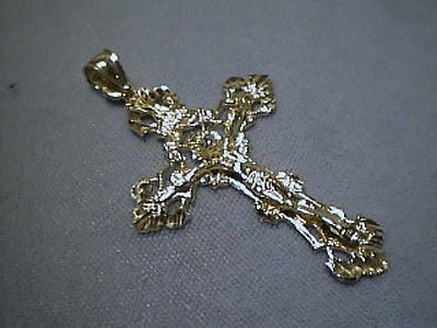 Crucifix Cross 14K Yellow 2 inch Bright Cut Large Heavy