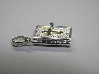 Bible Book Pendant Charm Sterling and 14K Gold Cross 3D Opens to Lord's Prayer