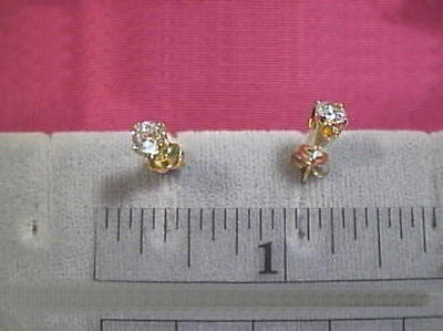 CZ Cubic Zirconia Earrings 4mm Round 14K Yellow 1/2 carat twt Signity CZs