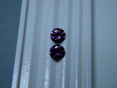 Cubic Zirconia Purple Amethyst  6mm Round Briliant 2 pc Lot Signity / Swarovski