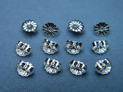 12 Earring Push BACKS Clutches Butterfly 6.3x5.4mm Sterling Silver .925 Ear Nuts