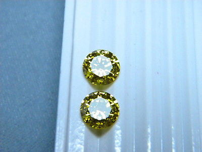 Cubic Zirconia Signity Yellow Topaz  8mm Round Brilliant CZ 2 pc lot Swarovski