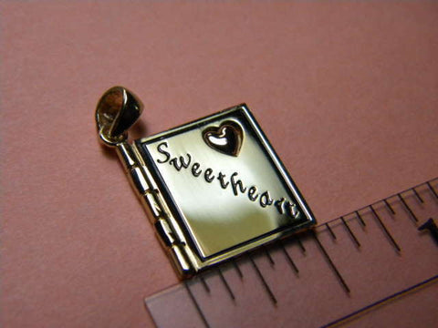 "14K Gold - I LOVE YOU ""SWEETHEART"" Pendant book hinged 3D Rose gold Heart"