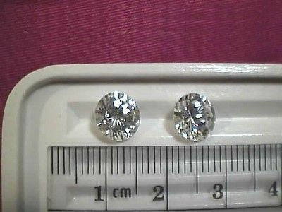 Cubic Zirconia 8mm 2 carat Round Brilliant 2 piece Lot, Signity CZs Swarovski