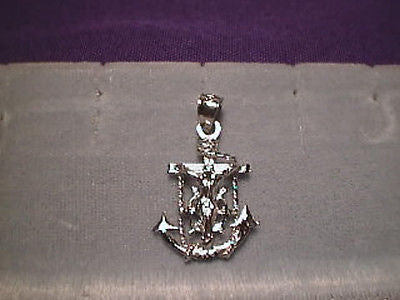 Mariners Cross Anchor 1 inch All 14K White Gold