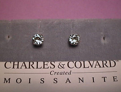 Moissanite Earrings 1.6 carat twt. 6mm Round 14K Yell - White  Charles & Colvard