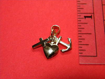Faith -  Hope - Charity Pendant Charm 14K Solid  Gold, Cross Heart Anchor