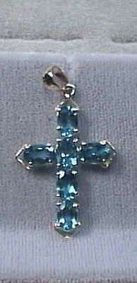 Blue Topaz Cross 14K Yellow Gold with 6  Oval Gems 3.6 carat