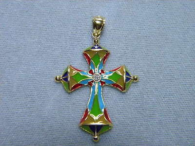 Cross Cloisonne Enamel 14KY Gold Colorful Stained Glass 3D 1.5 x 1 inch
