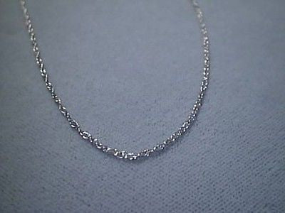 14K White solid gold pendant link Chain 16 inches long petite fine