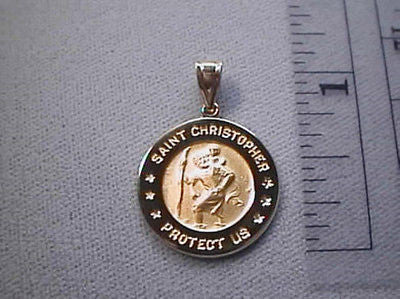 Saint Christopher Round 3/4th inch 14K Yellow Gold