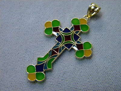 Cross Cloisonne Enamel 14K Y Gold Colorful Stained Glass look 1 3/8th x 7/8ths