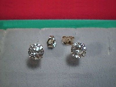 CZs Earrings 6.5mm Round 1 ct size14K Yellow Gold Stud - SIGNITY Cubic Zirconia
