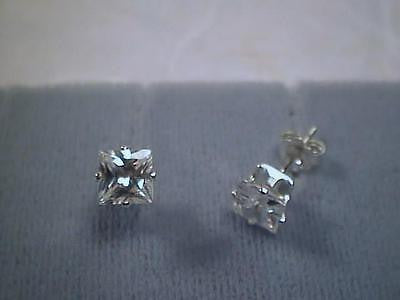 Cubic Zirconia CZs Princess Cut 1 carat TWT Earrings Sterling Silver Studs 5x5mm