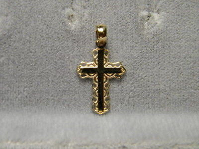 Cross 5/8ths inch tall Plain with a filagree 14k Yellow Gold