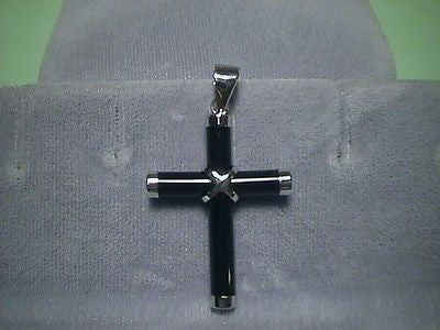 Cross Black Onyx and Sterling Silver 1 1/4 inches tall by 7/8ths wide