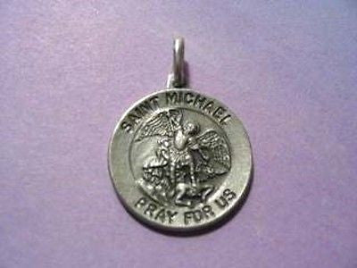 Saint Michael Round 3/4 inch  Sterling Silver Antiqued