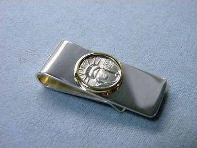 Money Clip Platinum US 1/10th oz Eagle Coin Sterling Silver Plain Clip 14K Bezel
