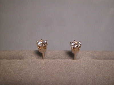 CZs Earrings 1 carat size twt 6 prong 14K Gold  SIGNITY Cubic Zirconia