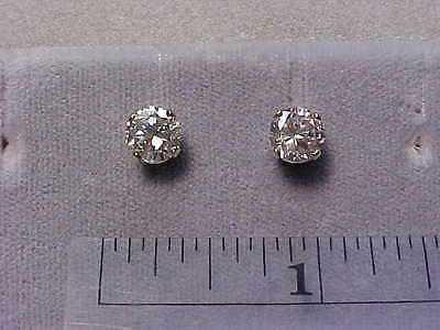 CZs Earrings 6.5mm 1 ct each Round 14K White Gold Studs - SIGNITY Cubic Zirconia