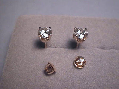 Moissanite Screwback 4 prong  Earrings 1.6 carat twt 14K Gold Charles & Colvard