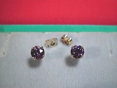 CZs SIGNITY Purple Earring Studs 6mm Rnd 14K Gold Cubic Zirconia Amethyst Color
