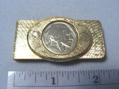 MONEY CLIP Indian Nickel Bezeled Gold Plated