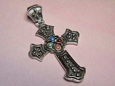 Cross Sterling Silver Enameled 1.75 inches tall x 1.25 inch