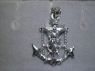 Mariners Cross Anchor 1 1/8th inch 14K White Gold