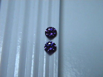 Cubic Zirconia Purple Amethyst color 5mm Rnds 2 piece Lot Signity CZs Swarovski