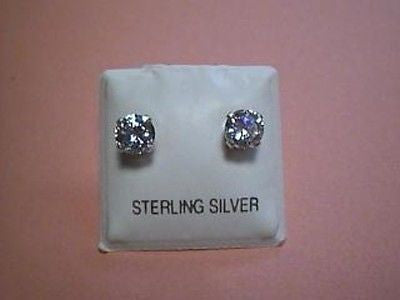 Cubic Zirconia CZ Earrings 1 Carat TWT Round Sterling Silver Studs