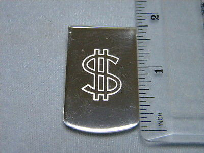 Money Clip $ Sign $ Engraveed Wide 1 3/4 inch by 1 inch, Sterling Silver .925