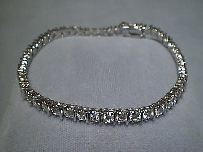CZ Tennis Straight Bar Bracelet Sterling Silver Cubic Zirconia 4.5 carat