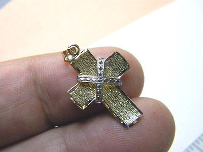 Cross 14K Yellow Block Textured & White Bright Cut X 1 inch tall by 1/2 in