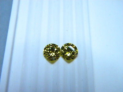 CZs Signity Yellow Topaz color 6mm Round Brilliant 2 piece Lot Signity Swarovski