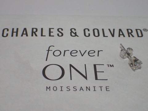 Forever One  Moissanite Single  Stud Earring 1/4 carat 4 prong 14K Gold Charles and Colvard