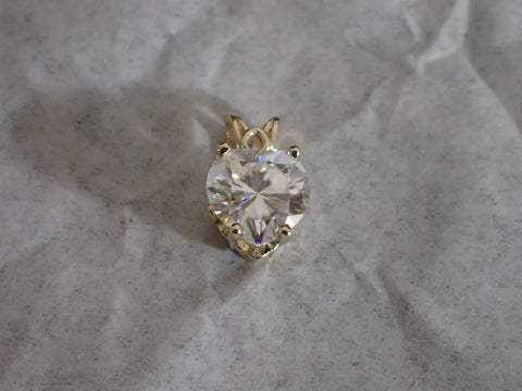 Forever One DEF Moissanite Heart Scroll Pendant 1 or 2 carat 14K gold Charles and Colvard Colorless