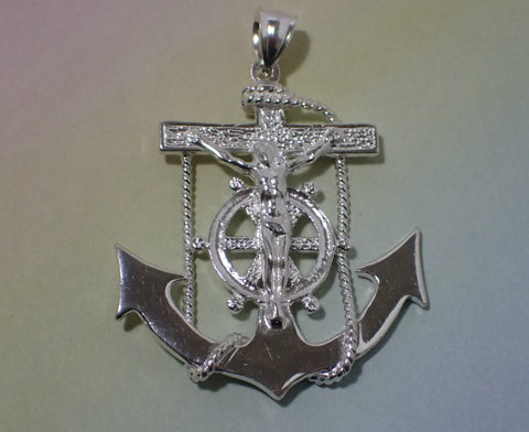 Mariners Cross Anchor Cross Sterling Silver 2+ inches XX LARGE Heavy