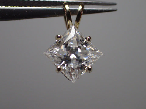Forever One D E F  Moissanite Princes Pendant 14KY 6.5mm 1.50 ct Charles &Colvard